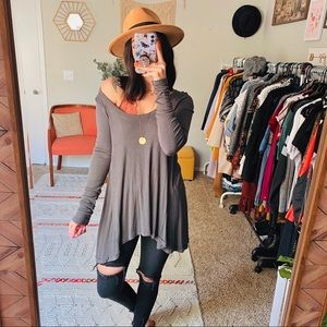Free People Long Sleeve Grey Tunic Tee